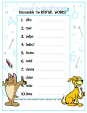Unscramble the Dental Words activity sheet - Pediatric Dentist in Pompton Lakes, NJ
