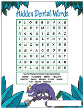 Hidden Dental Words activity sheet - Pediatric Dentist in Pompton Lakes, NJ
